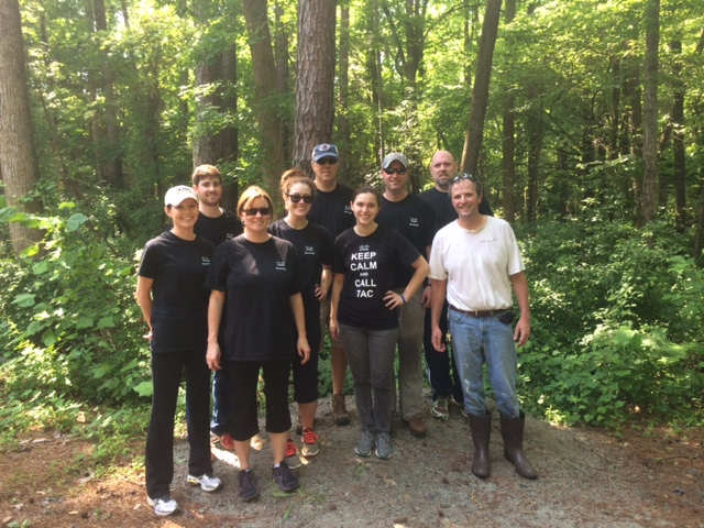 Cisco folks looking sweaty, but happy, with Aaron, after clearing brush around the lemur fence.