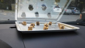 Cookie dough on dashboard